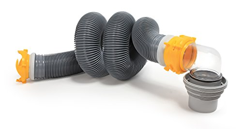 Camco 39658 Deluxe 20' Sewer Hose Kit with Swivel Fittings- Ready To Use Kit Complete with Sewer Elbow Fitting, Hoses, Storage Caps and Bonus Clear Extender