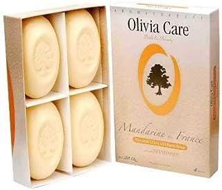 Olivia Care French Natural Olive Oil Bar Soap - 4 Pack Mandarin