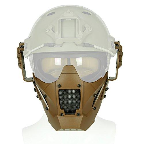 Hotour Taktische Helm Maske Einstellbare Halbe Gesicht Mesh Schutzmaske für Airsoft Paintball CS