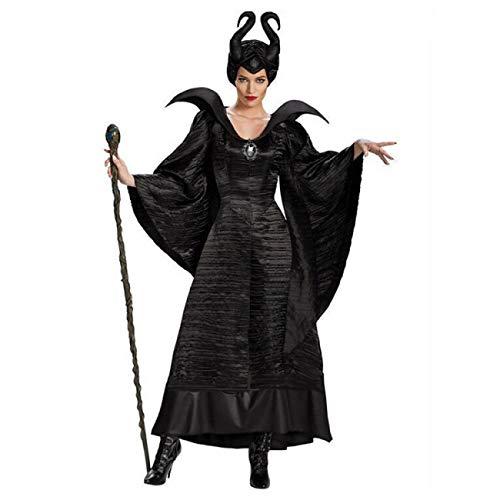 ERFD&GRF Tallas Grandes Cuento de Hadas Negro Bella Durmiente Bruja Reina Maléfica Disfraces Mujeres Adultas Fiesta de Halloween Cosplay Disfraz