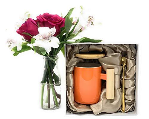 Ceramic Coffee Mug Set with Bamboo Lid and Spoon - Coffee Mug for Women and Men - 3 Piece Set, 13 OZ (Orange)