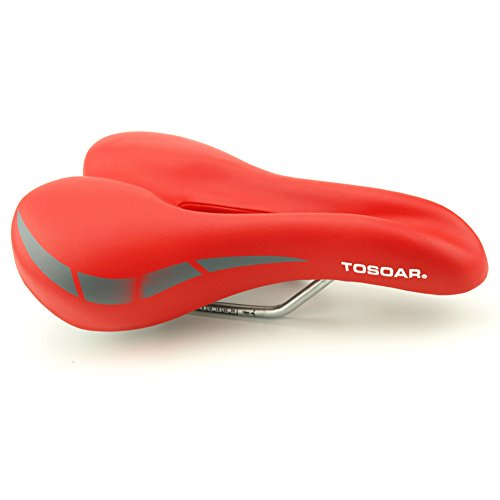 TOSOAR Sattel Damen MTB Sattel Herren Trekking Fahrradsattel Gel Fahrrad Sattel und Fahrradsattel überzug Passt Meisten Fahrräder (Rot)