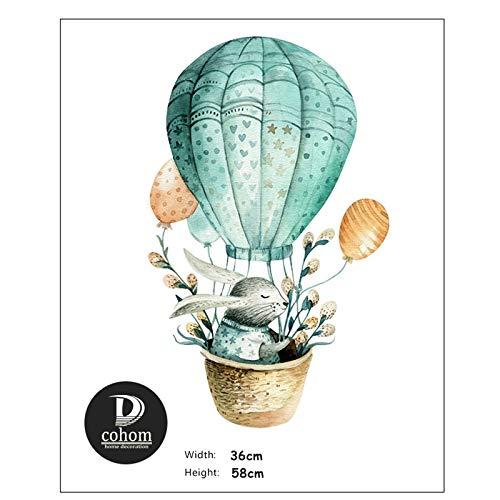 QWERTYU RIIANME Cartoon Dier Konijn heteluchtballon kinderen wandtattoos Nordic stijl sticker Naby kamer decoratie PVC gordijn, F123