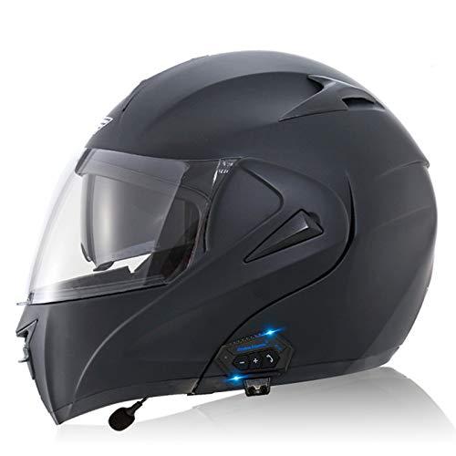 ZLYJ Casco Delantero Abatible con Bluetooth Integrado para Motocicleta, Casco Integral Modular Aprobado por ECE, Casco De Moto con Visera Solar Doble HD, Casco De Protección A,M(57-58cm)