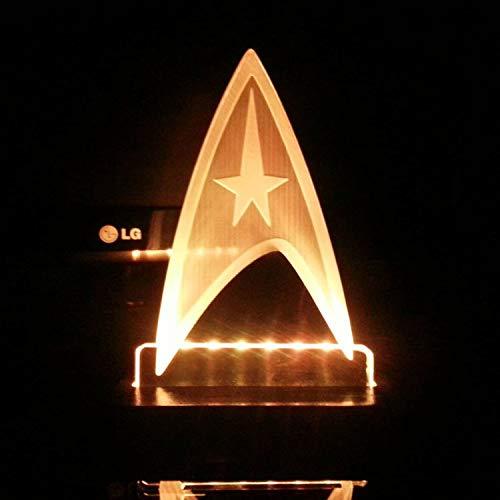Star Trek-Abzeichen führte Nachtlicht, Schlafzimmerbett der Tischlampe 3D, dekorative helle Fernbedienung der energiesparenden Fernbedienung