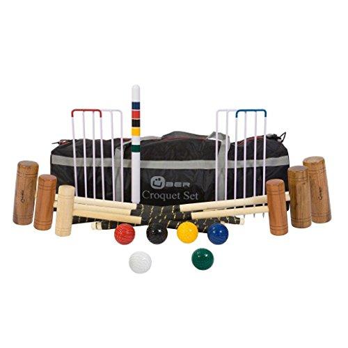 Uber Games UG 105-6 - Juego de croquet para jardín (contiene 6 mazos: 1 x 60 cm, 2 x 71 cm, 2 x 86 cm, 1 x 96 cm) Incluye 6 bolas de madera, 6 arcos de acero, clips, 1 peg de madera dura y una bolsa de nylon.