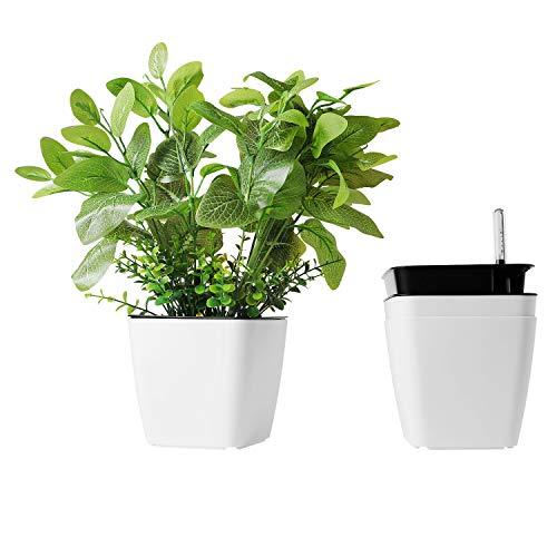 T4U 13 cm, mała plastikowa doniczka do samodzielnego nawadniania, prostokątna, biała, ze wskaźnikiem wody, zestaw 3 sztuk do miniaturowych roślin
