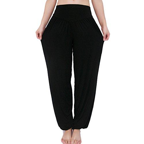 MEISHINE® Damen Modal Elastisch Haremshose Pluderhose Pumphose Ideal für Sport Yoga Tanz Jogging Dance (Size XL, Schwarz)