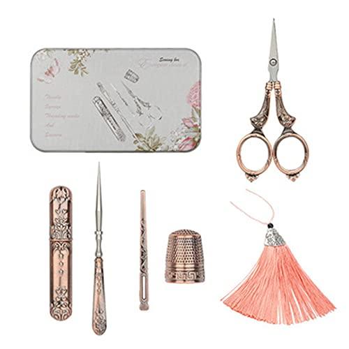LPOQW Juego de tijeras de coser vintage, kit de herramientas de costura, tijeras de bordar, caja de agujas para bordar, accesorios de punto de cruz, cobre rojo