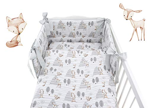 5 pc Baby Bedding Set for COT 120X60 OR COT Bed 140X70cm Inc -Duvet+Pillow+Duvet Cover+Pillow CASE+ Bumper (COT Bed 140X70, Forest)
