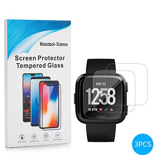 Weinstock-Science | 3X bruchsicheres Schutzglas für Fitbit Versa Health| Schutzfolie aus 9H Echt Glas Transparent