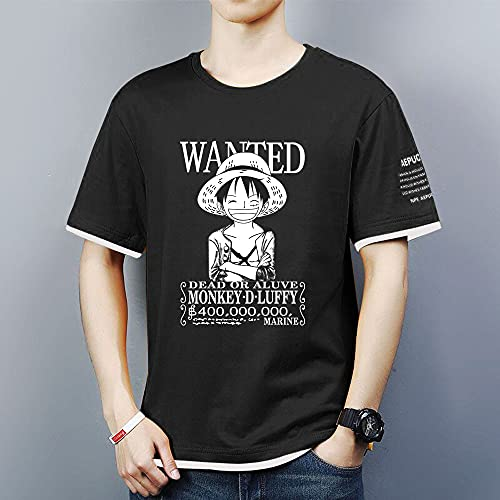 Hombre Camisetas de Manga Corta Sport tee Tops - 3D Monkey D. Luffy Casual Unisexo Camisas de Golf de Tshirts Trabaja Deportes Camiseta - Regalos para Adolescentes,Negro,L
