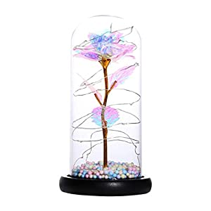 Crystal Galaxy Rose Flower,Colorful Artificial Flower Rose Gift, Perfect Combination of Dome Glass Rose and Led String Lights-Unique Gifts for Girlfriends/Women/Mom