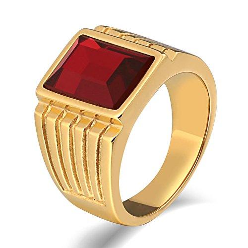 KnSam Anillo para hombre, acero inoxidable, ovalado, de acero inoxidable, para hombre, con circonita, anillo dorado con grabado gratuito, Acero inoxidable, Circonita cúbica.,