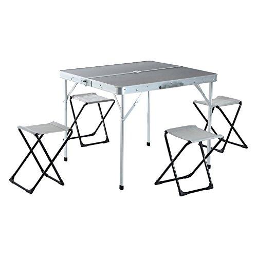 Outsunny Mesa de Camping Plegable con 4 Sillas de Aluminio con Agujero de Parasol para Picnic, Jardín o Terraza