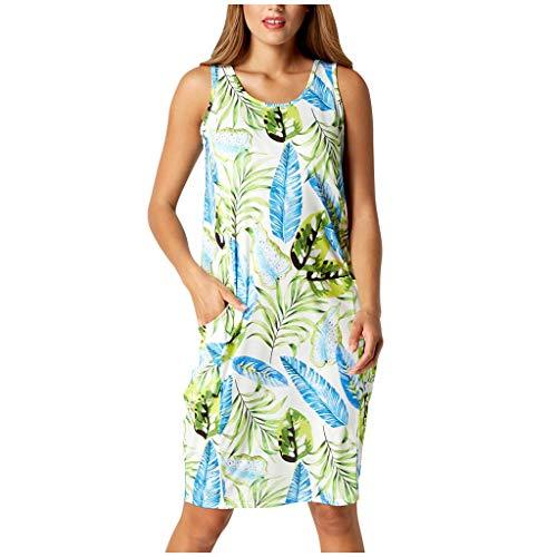 manadlian Femme Robe sans Manches Femme Chic Mini Robes Imprimée Florale Maxi Dress Casual Jupe de Maternité Grand Taille Robe Unie Chemise Robe T Shirt