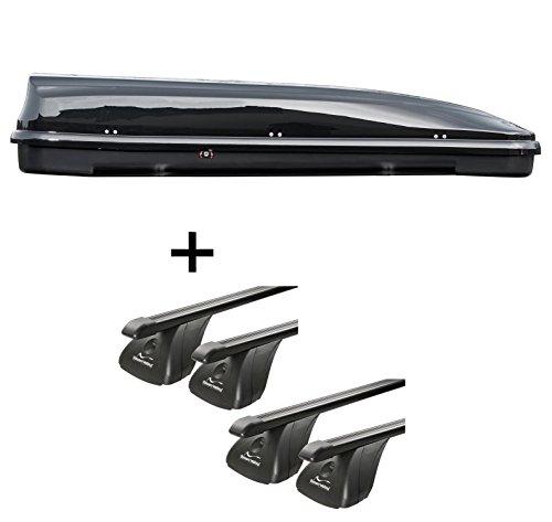 Dakkoffer VDPFL460 460ltr zwart glanzend + 4 stangen imperiaal Aurilis origineel voor Volkswagen VW T5 vanaf 03 STAAL