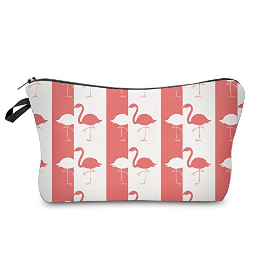 Liaosize femmes filles Flamingo imprimé maquillage pochette cosmétiques sac de pièce de monnaie de l'école porte-monnaie case crayon (Rouge)