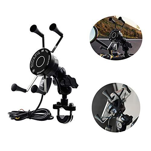 Motorrad Aluminiumlegierung Lenker Halterung, 360 ° Drehung, Motorrad Wireless Handy Ladegerät mit Schalter für Motorrad/ATV/Elektro Dreirad,Schwarz