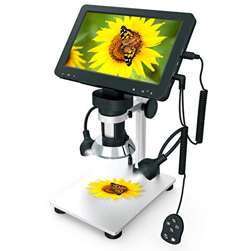 7 inch LCD Digital USB Microscope, COCOLD Upgraded Camera 1080P Video Recorder, Wired Remote, 3000mAh Rechargeable Battery for Circuit Board Soldering PCB Coins Outdoor