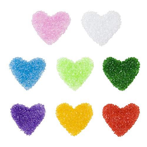 WANDIC decoratieve stenen, 8 verpakkingen Multi kleur zeeglas verpletterd kristal decoratief grind voor huisdecoratie Diy ambachtelijke vaas vulmiddel Aquarium grind kunst