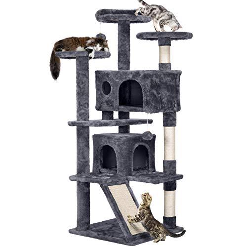 Yaheetech Katzen Kratzbaum mit 2 Katzenhöhlen 3 Aussichtsplattformen Katzenkratzbaum mittelhoch Spielsisal Grau
