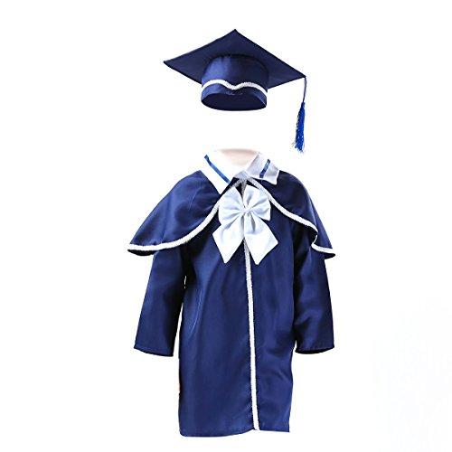 LUOEM Toga Laurea e Tocco Cappello Laurea Travestimento Laurea Costume Laureato per Bambini (Blu Scuro)