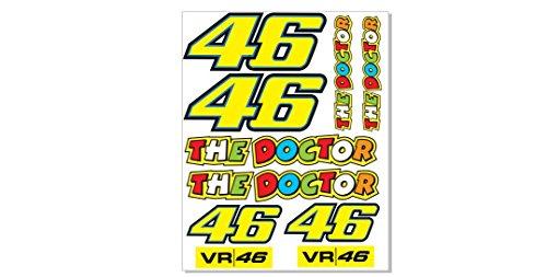 1 Set (10 Aufkleber 4) Valentino Rossi The Doctor Sticker Aufkleber VR 46 + plus TOPHEADS© Eyewear Sticker + Motorrad Bike Yamaha R1 R6 GSX-R Fireblade CBR Kawasaki ZX-R