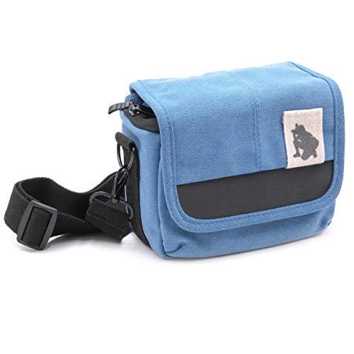 vhbw Kamera-Tasche kompatibel mit Panasonic Lumix DC-TZ91, DMC-FZ1000, DMC-FZ2000, DMC-FZ300 Canvas blau, grau