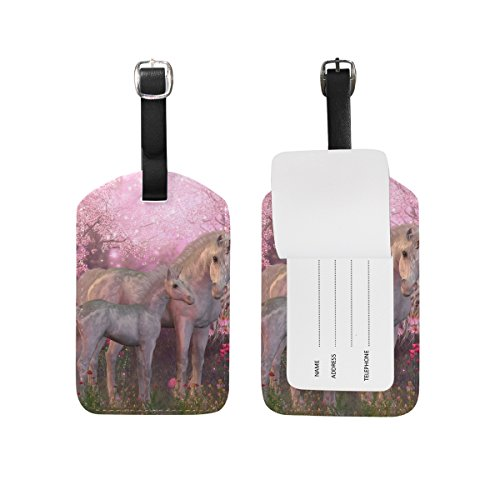 TIZORAX White Unicorn Mare and Floral PU Leather Luggage Bag Tags Suitcase Labels,1 Pcs