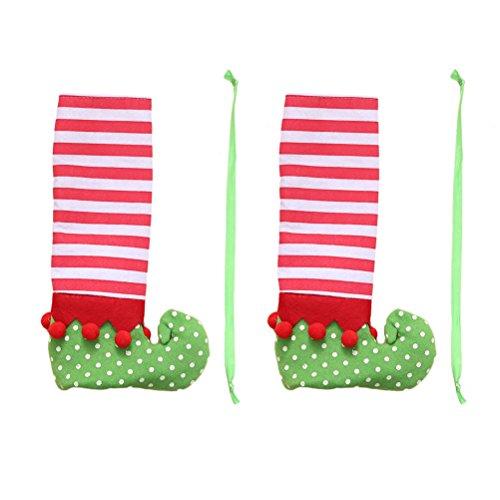 Luoem de Noël Housses de chaise Pied de table couvertures Rayures Elf Pieds Chaussures Pieds dragées de décorations de fête Décoration de table 2 pcs