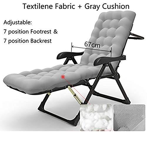 XIAOMEI Terrasse Klappbar Stuhl Liege Mit Fußstütze Zero Gravity Liegefunktion Faul Regiestuhl Liegestuhl Kopfpolster-o 184x67cm(72x26.4in)