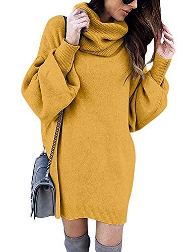 Minetom Pulli Kleid Damen, Winter Mode Frauen Fester Rollkragen Strickjacken Langes Beiläufiges Langes Hülsen Pullover Kleid Gelb DE 38