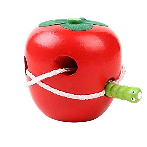 Demarkt Kinder Lernspielzeug - Roter Apfel Fädelspiel Spielzeug Motorikspielzeug - Pädagogisches holzspielzeug - für Motorik des Kleine Kinder