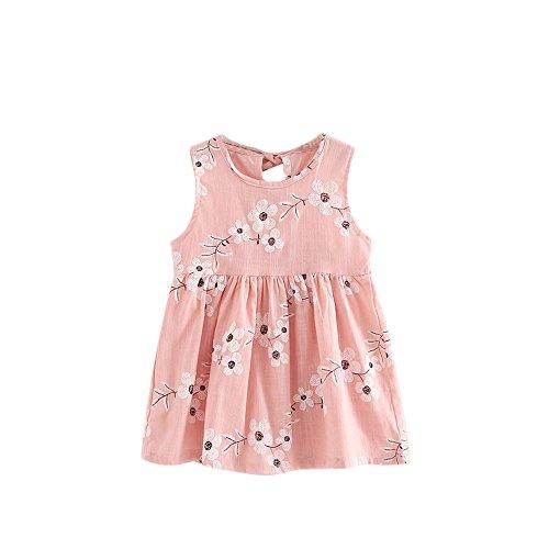 YWLINK Kleinkind MäDchen Sommer Prinzessin Kleid Mit Blume Stickerei Baby Party Hochzeit ÄRmellose Bequem Süß Kleider(Rosa,110)