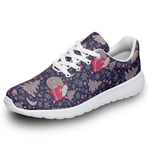 Wraill, scarpe da corsa da uomo e da donna, con Babbo Natale, rosso e blu, stampa leggera, scarpe da corsa, scarpe sportive, (bianco), 46 EU