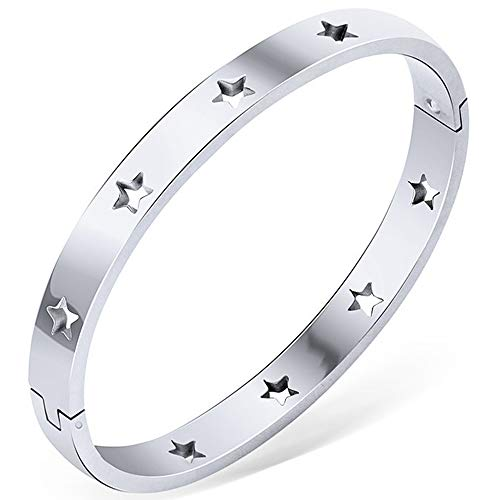 Stainless Steel Stars Open Clasp Classical Plain Bangle Bracelet (Silver)