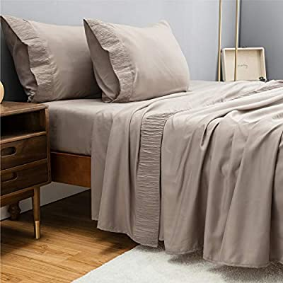 Bedsure Queen Bed Sheets Set Taupe - Soft 1800 Bedding Microfiber Sheets for Queen Size Bed - Wrinkle, Fade, Stain Resistant - 4 Pieces