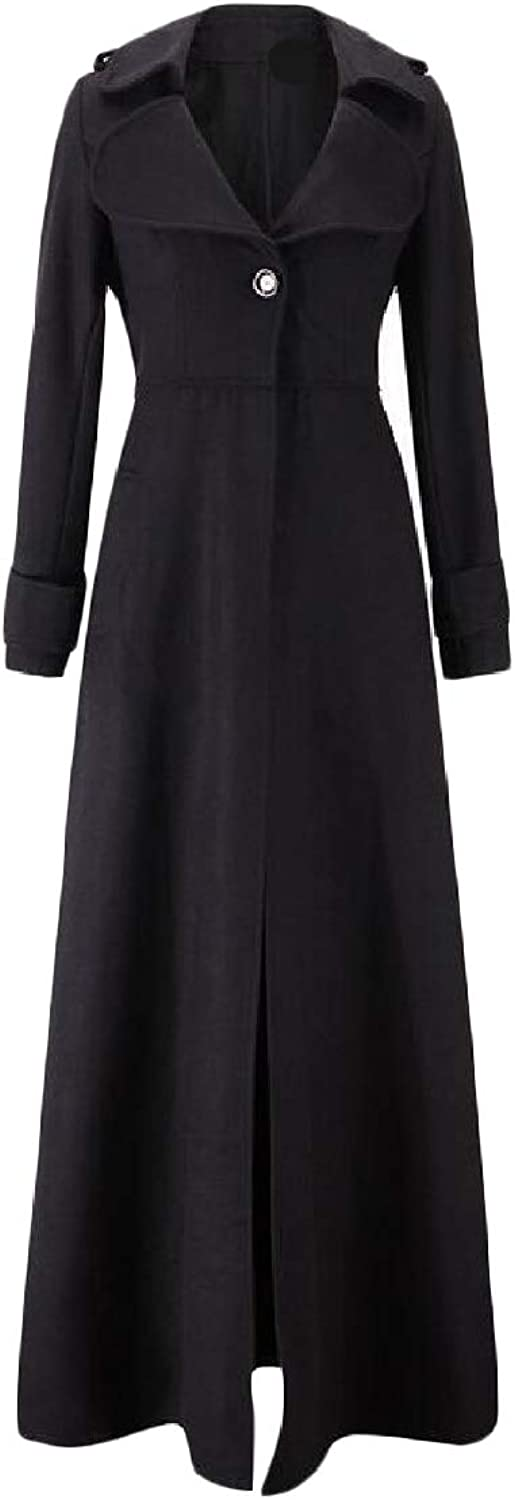 EtecredpowCA Womens Overcoat Slim One Button Notched Lapel Long Trench Coat