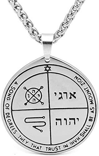 Zaaqio Talismán Pentagrama del Sello de Salomón Wicca Pagan Hermetic Enochian Kabbalah Collar con Colgante - Diseño de Acero-8