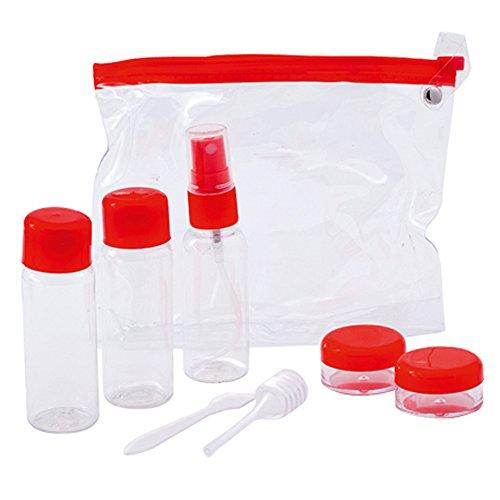 Neceser de Viaje Transparente con 7 Botes Porta Cremas, Champú, Líquidos Kit de Envases para Avión. para Hombre y Mujer. Color Rojo