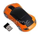 exing ratón inalámbrico 2.4G 1600dpi ratón óptico con forma de coche Ratón óptico LED Inalámbrico con Receptor USB