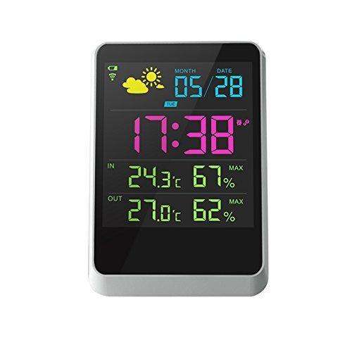 Powerlead Digitale wekker, groot LCD-scherm met binnen- en buitenverlichting, weerstation met temperatuur/luchtvochtigheid