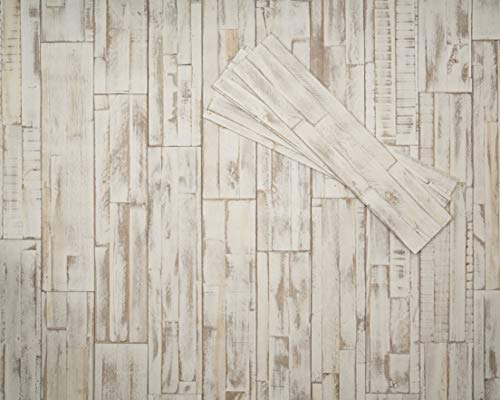 mywoodwall 3D Wandverkleidung Holz Weiß Selbstklebend Brushed Coral Moderne Wandpaneele Vintage Umweltfreundlich 1 Paket a´ 0,98 m²