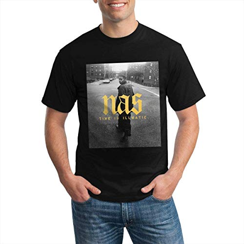 Classic Men's T-Shirt NAS Rapper Time is Illmatic Round Neck Short Sleeve Tees