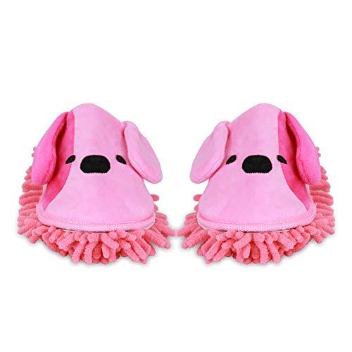 Liitrton Washable Chenille Microfiber Slippers Floor Dust Dirt Hair Detachable Microfiber Mop Slippers for Office Home Room (Pink)