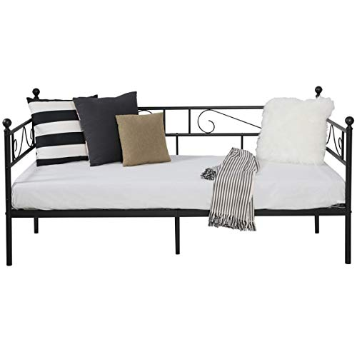 Aingoo Metal Single Day Bed Frame Guest Sofa Bed Daybeds for Living Room Bed Room Black