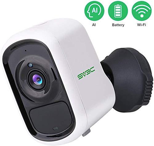 1080P WiFi-Batterie-Überwachungskamera, Kabellose SV3C AKKU Außenkamera mit intelligenter Bewegungserkennung für humanoide Haustierfahrzeuge, akustischer Alarm, Zwei-Wege-Audio, Nachtsicht