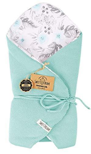 SweetDreams baby inslagdeken, slaapzak, wikkeldeken voor pasgeborenen en peuters, katoen 0-12 maanden, super zacht, 75 x 75 cm (1024) Mint/in de tuin.