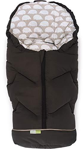 PRIEBES JOSI Winter-Fußsack für Babyschale & Softtragetasche/Fußsack mit abnehmbares Fußteil/auch als Krabbeldecke & Wickeldecke/atmungsaktiv & wasserabweisend, Design:mokka igel taupe